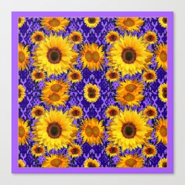 Purple Patterns Floral  Yellow  Sunflower Art Canvas Print