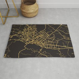 BOGOTA COLOMBIA GOLD ON BLACK CITY MAP Rug