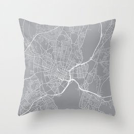 New Haven Map, Connecticut USA - Pewter Throw Pillow