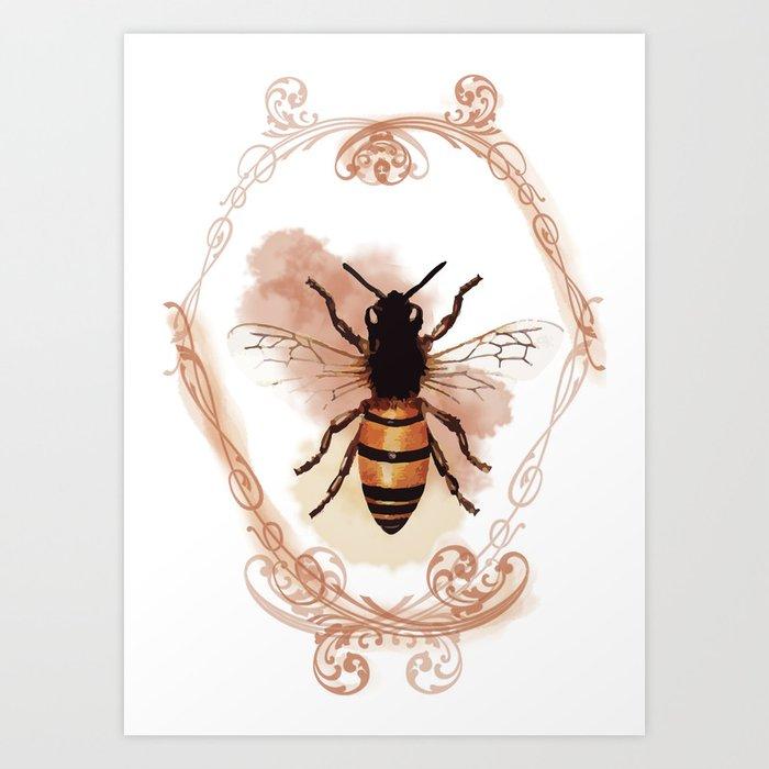 Vintage Bee Art Print By Fiddlehead Society6