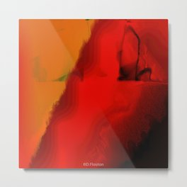 Emerging through Red Abstract Metal Print