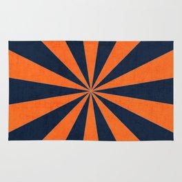 navy and orange starburst Rug