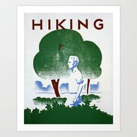 hiking Art Prints featuring Hiking by vigrre