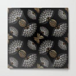 African Floral Motif on Black Metal Print