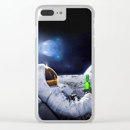 Astronaut on the Moon with beer Clear iPhone Case