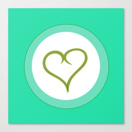 Green Heart with Love Canvas Print