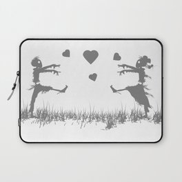 Zombies in Love Gray Laptop Sleeve