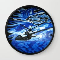 grateful dead Wall Clocks featuring Jerry Garcia Blues Acrylic Painting Grateful Dead by Acorn