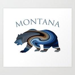Montana Midnight Blue Grizzly Art Print