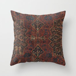 Boho Chic Dark VI // 17th Century Colorful Medallion Red Blue Green Brown Ornate Accent Rug Pattern Throw Pillow
