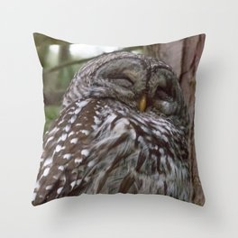 Happy Owl Throw Pillow