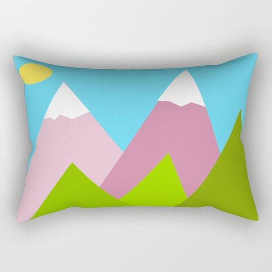 Pines and Pink Mountains Rectangular Pillow
