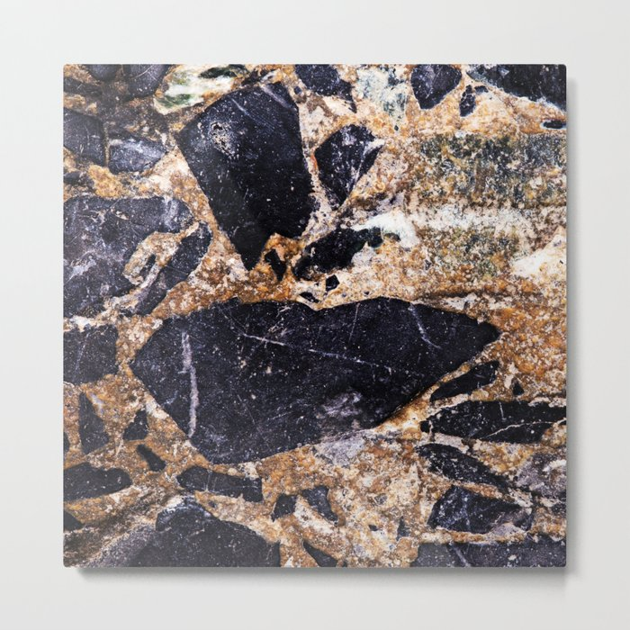 Black and Gold Marble Metal Print