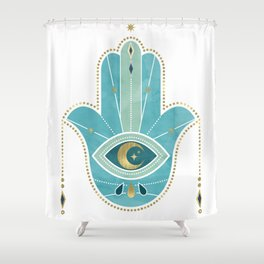 Hamsa Hand Teal Version Shower Curtain