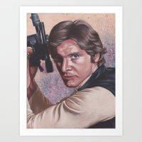han solo Art Prints featuring Han Solo by bdevennyart