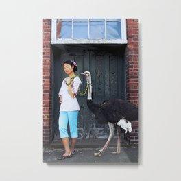 Rein It In - Ostrich Oda Metal Print