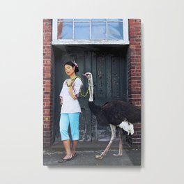 Rein It In - Ostrich Oda Metal Print