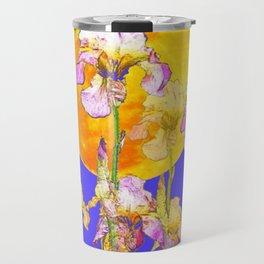 IRIS GARDEN & RISING GOLD MOON  DESIGN ART Travel Mug