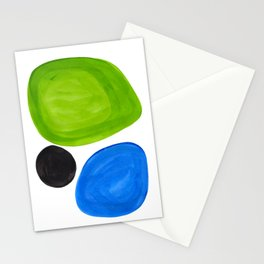 Mid Century Vintage Abstract Minimalist Colorful Pop Art Lime Green Phthalo Blue Black Bubbles Stationery Cards