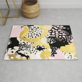 Simone - abstract painting gold foil trendy hipster pastel pink modern trendy colors decor college Rug