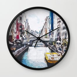 The River City Watercolor Wall Clock
