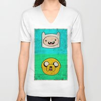 finn and jake V-neck T-shirts featuring Finn & Jake by WolfFace