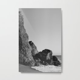 Monochrome Malibu Tide Metal Print