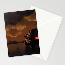 Oldsmobile with burning depot Stationery Cards