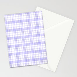 White & Lilac Plaid Stationery Cards