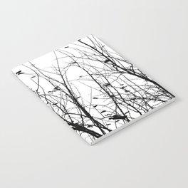 Black white tree branch bird nature pattern Notebook