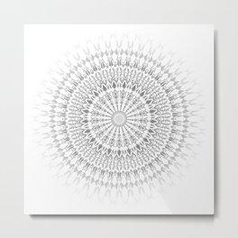 Gray White Mandala Metal Print