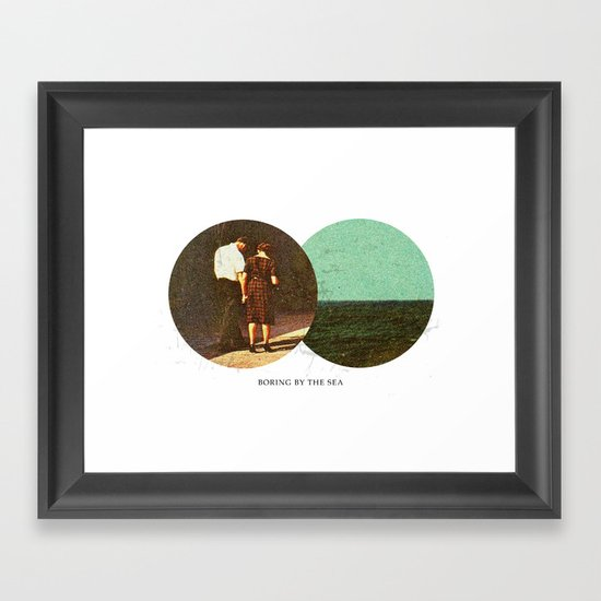 Boring by The Sea   Collage Framed Art Print