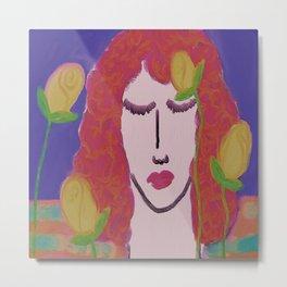 Yellow Roses Abstract Digital Painting  Metal Print
