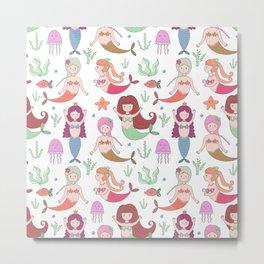 Cute girly pink coral floral little mermaid pattern Metal Print