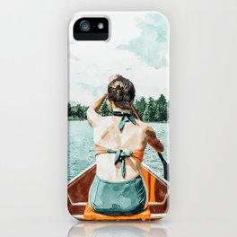 Row Your Own Boat #illustration #decor #painting iPhone Case