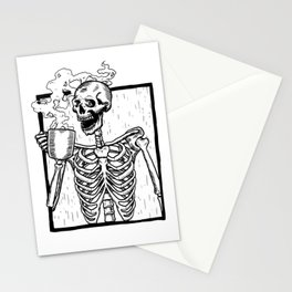 Skeleton Drinking a Cup of Coffee Stationery Cards