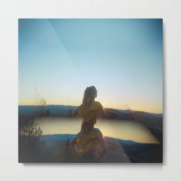 Golden Girl in the Grasslands - Holga film photograph during sunset near Bend, Oregon Metal Print