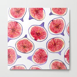 Fig slices watercolor Metal Print
