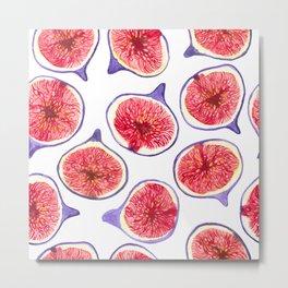 Fig slices watercolor Metal Print