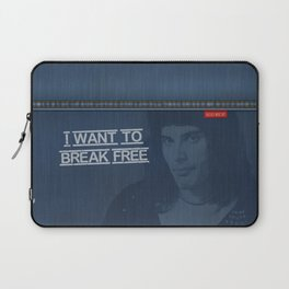 I Want To Break Free - Mercury on Blue Jeans Laptop Sleeve