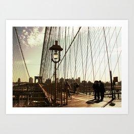 Walking Brooklyn Bridge Art Print
