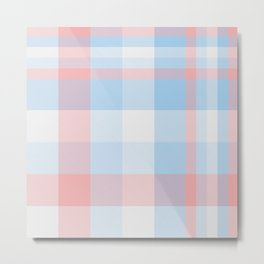 Sky blue Plaid Tartan Checkered Pattern Metal Print