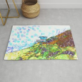 Life Guard Station On The Rocky Beach  Rug