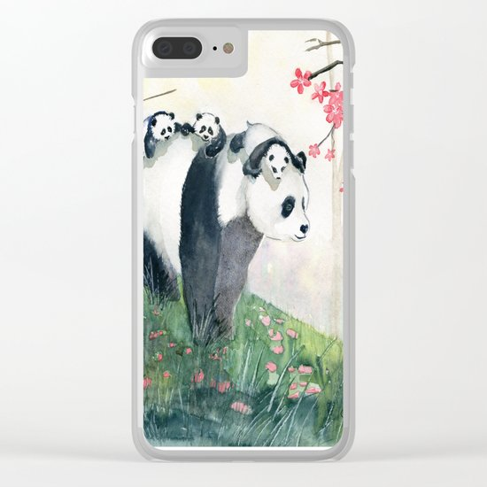 Panda family Clear iPhone Case