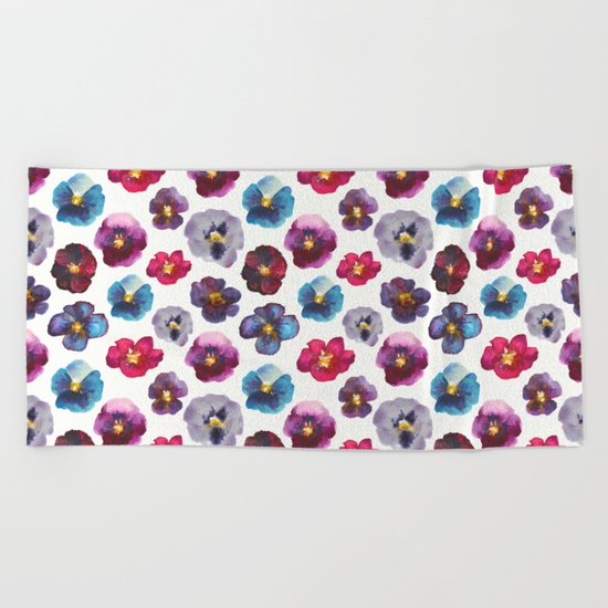 Watercolor violets Beach Towel