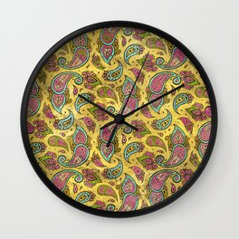 Pink and Blue Glass Paisley  on gold Wall Clock