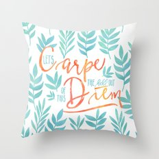 Let's Carpe The Hell Out Of This Diem - Watercolor Throw Pillow