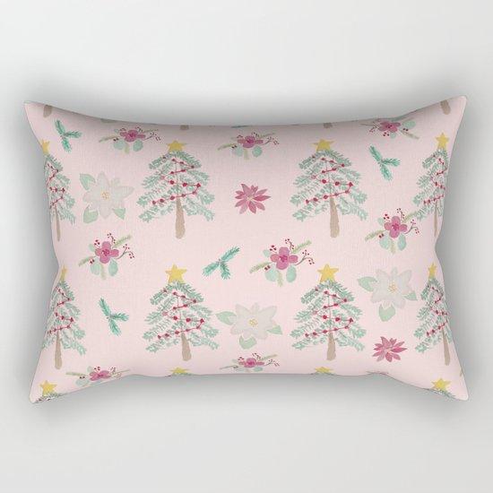 Christmas Pattern Pink Rectangular Pillow