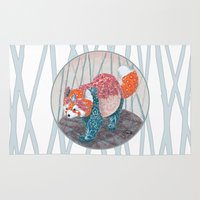 red panda Area & Throw Rugs featuring Red Panda by (TBALL) Teresa Ball