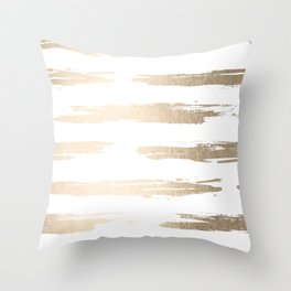 Simply Brushed Stripe White Gold Sands on White Throw Pillow